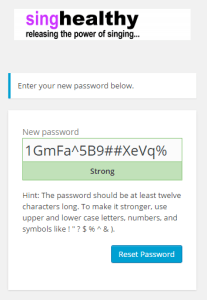 singhealthychoirs - set new password panel